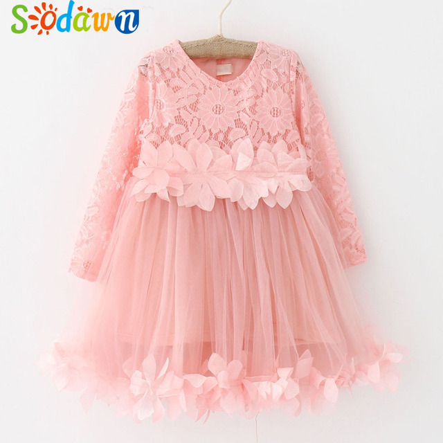 5612a66d3c3a Sodawn 2018 Summer New Girls Clothes Fashion Petal Kids Girls Dresses Girls  Clothes Lace Mesh Splicing