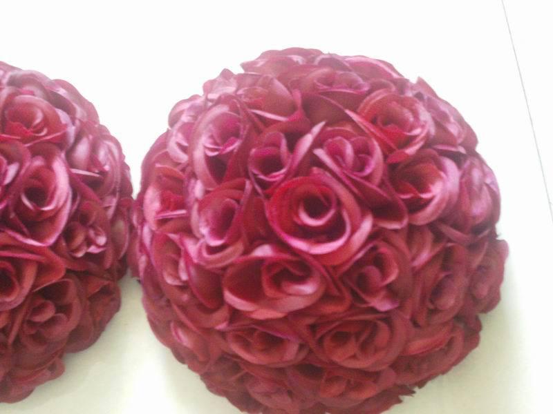 SPR 50 cm beijando bola flor de seda artificial da flor da tabela do casamento decoração de casamento flor de parede flore vermelho escuro - 4