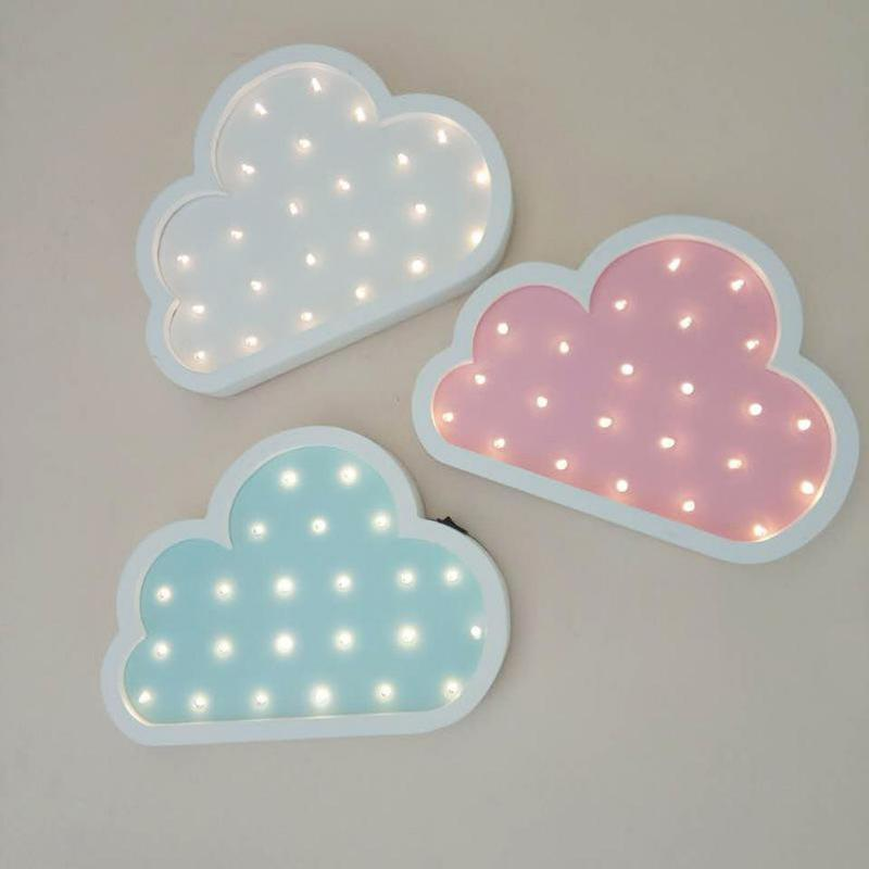 INS Lovely Wooden Clouds LED Night Light Children White Pink Blue 3D Christmas Decor Holiday Party Table Lamp For Kid's Toy Gift