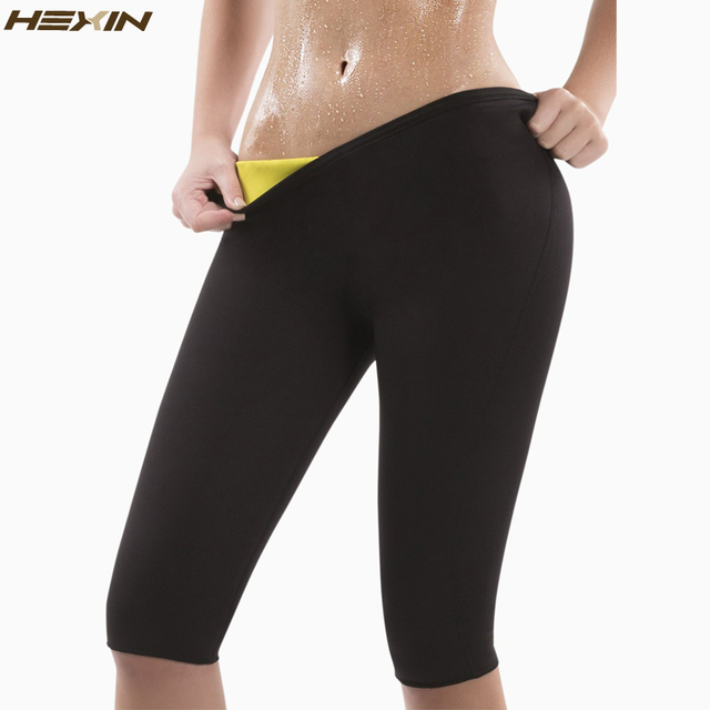 HEXIN נשים הרזיה מכנסיים תרמו ניאופרן זיעה סאונה גוף מעצבי כושר למתוח בקרת תחתוני ברן מותניים Slim מכנסיים