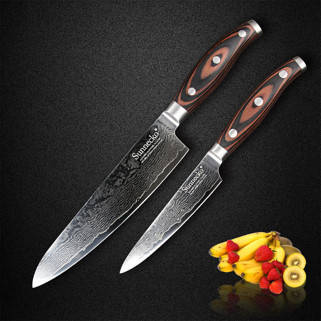 Sunnecko 2PCS Kitchen Knives Set Japan Damascus VG10 Steel Sharp Knife 5'' Utility 8'' Chef Knife Pakka Wood Handle Meat Cutter