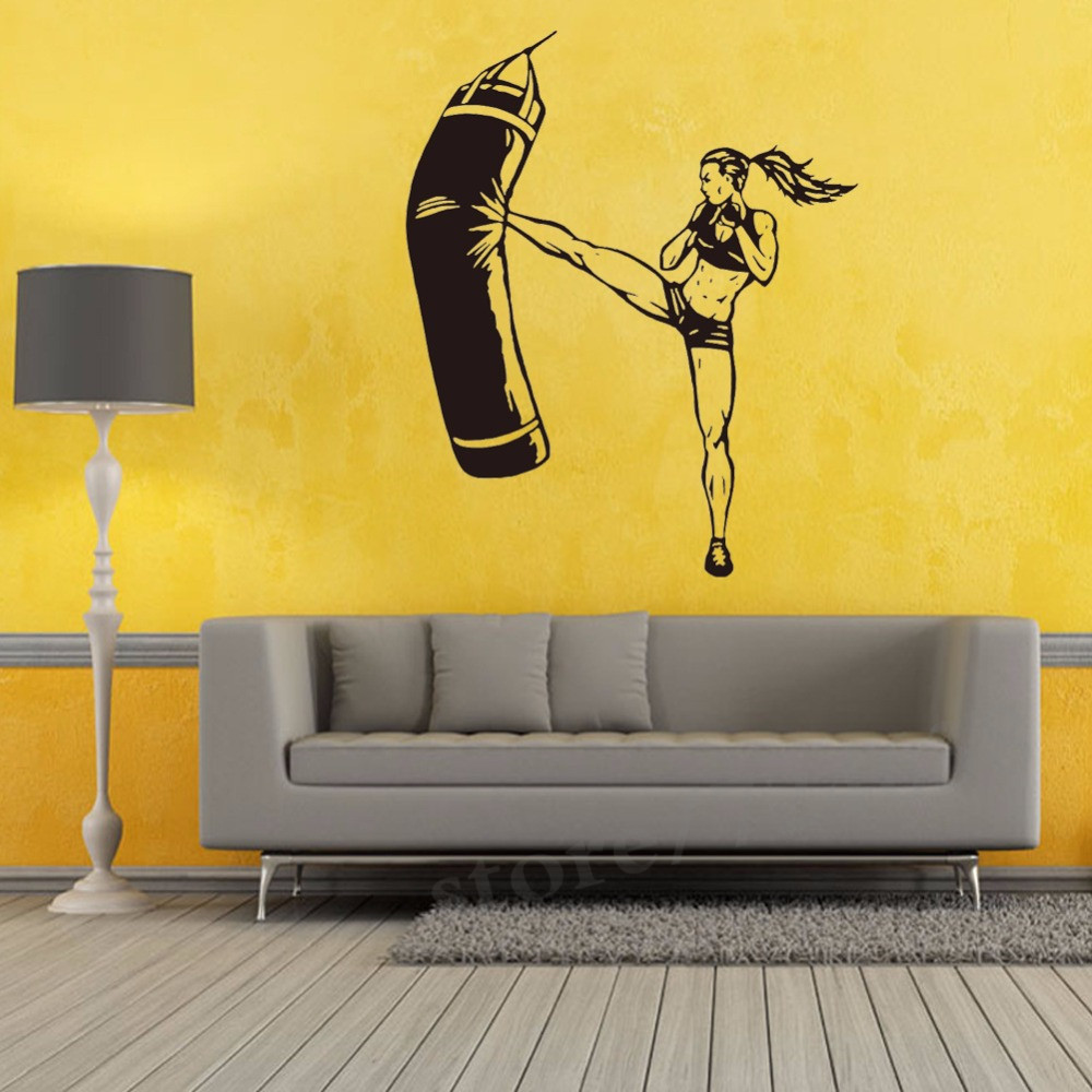 Woman Boxing Sandbags Vinyl Wall Decal Home Decor Living Room Diy ...