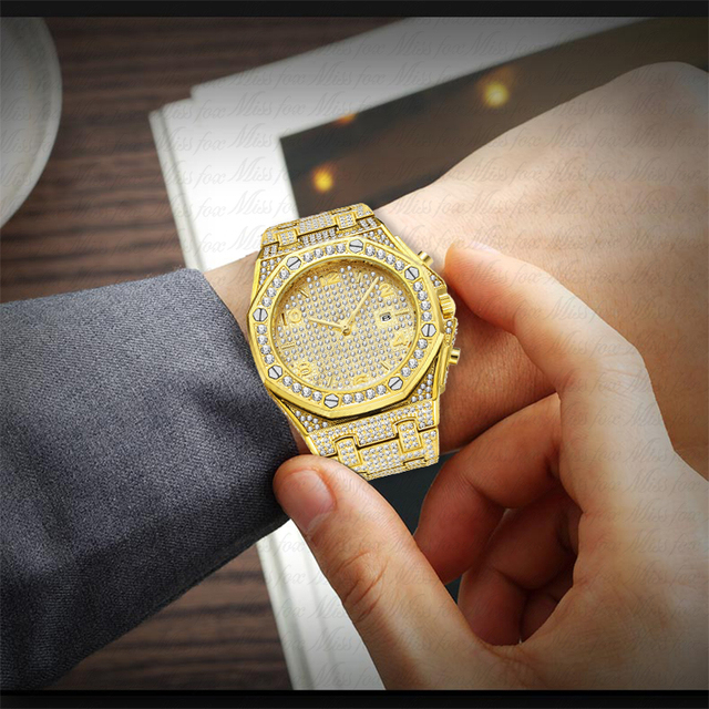 Relógios masculinos marca de topo relógio de luxo masculino tendência único ff árabe diamante relógio 18k ouro quartzo gelo para fora relógio cronógrafo 5