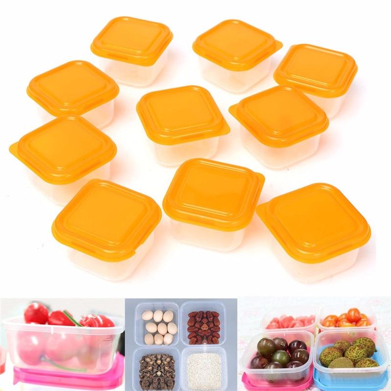 10Pcs Reusable Mini Plastic Food Storage Boxes Containers Snack Nut