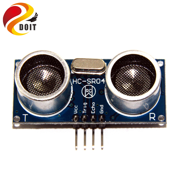 все цены на  Original DOIT 10pcs Ultrasonic Module HC-SR04 Distance Measuring Transducer Sensor HC SR04 HCSR04 for Robot Car Chassis Model  онлайн