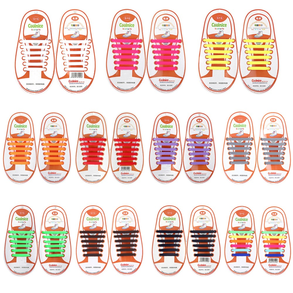 купить 12Pcs Kids Elastic Silicone Shoelaces No Tie Candy Color Shoe String 4.1-6.05cm недорого