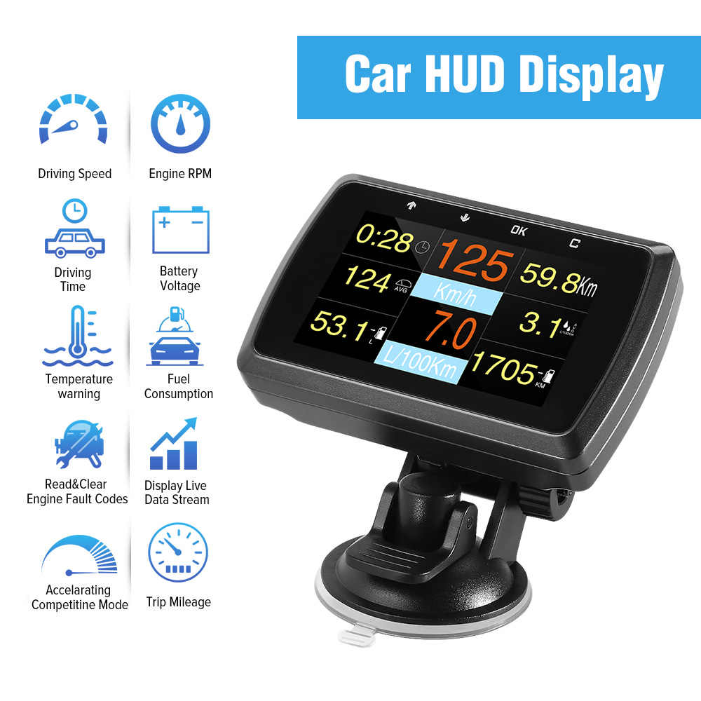 HUD Head Up Display A501C OBD2 ordenador integrado para el consumo de combustible del coche medidor de temperatura velocímetro OBD 2 HUD Display