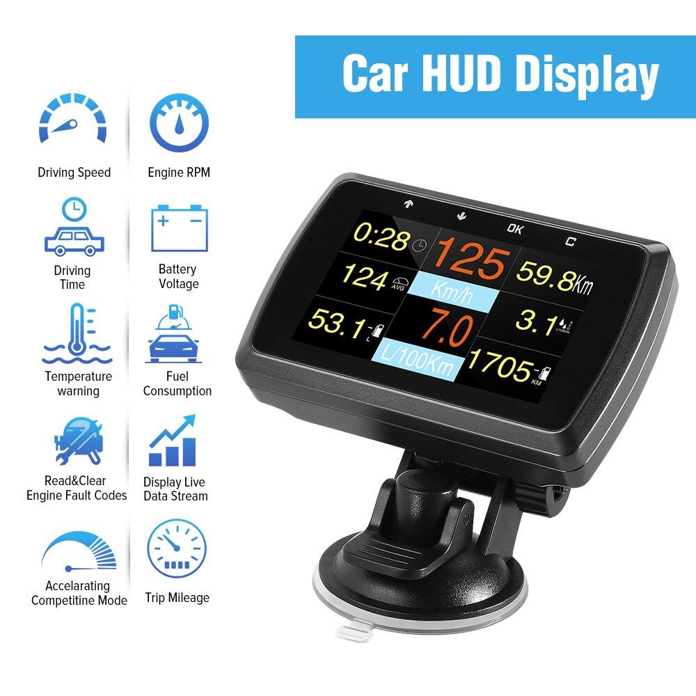 HUD affichage tête haute A501C OBD2 ordinateur de bord pour voiture consommation de carburant compteur de température compteur de vitesse OBD 2 HUD affichage