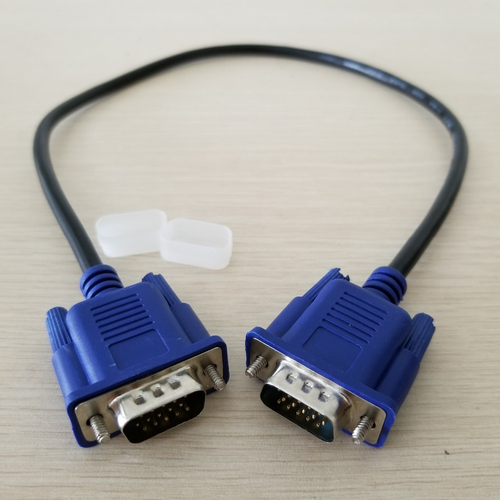 1 Pcs VGA Cable D-Sub HD15 Monitor 15Pin Male To Male Video Short Cable Cord Blue 50cm