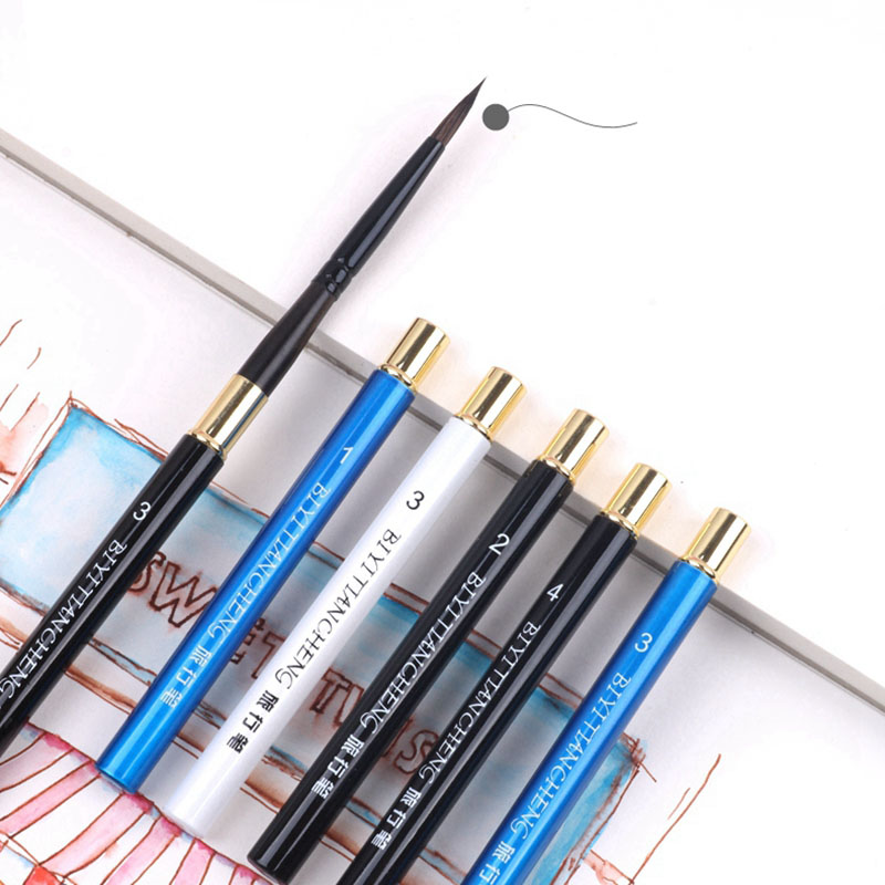 Watercolor Brush Animal Hair Pointed Round Head Travel Pen Sketch Gouache Brush Professional Art Painting Adult Hook Line Pen