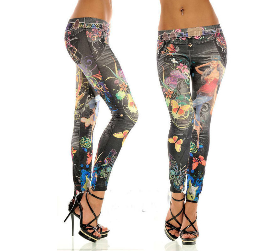 Elastic Butterfly Print Denim Leggings