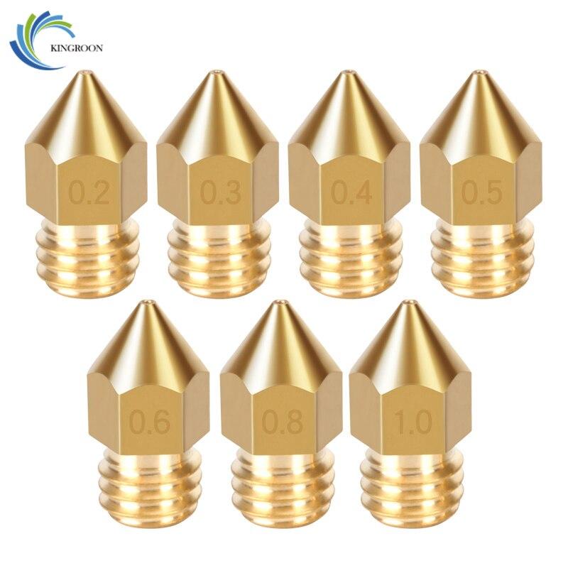 MK8 Nozzle 0.4mm 0.3mm 0.2mm 0.5mm 0.6mm 0.8mm 1.0mm Copper 3D Printers Parts Extruder Threaded 1.75mm Filament Head Brass Nozz