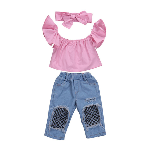 5b356b134ea9b New Arriving Cute Kid Baby Girl Clothes Set 3 Pcs Fashion Toddler Pink Off  Shoulder Tops Denim Ripped Jeans Headband Outfits-in Clothing Sets from  Mother ...