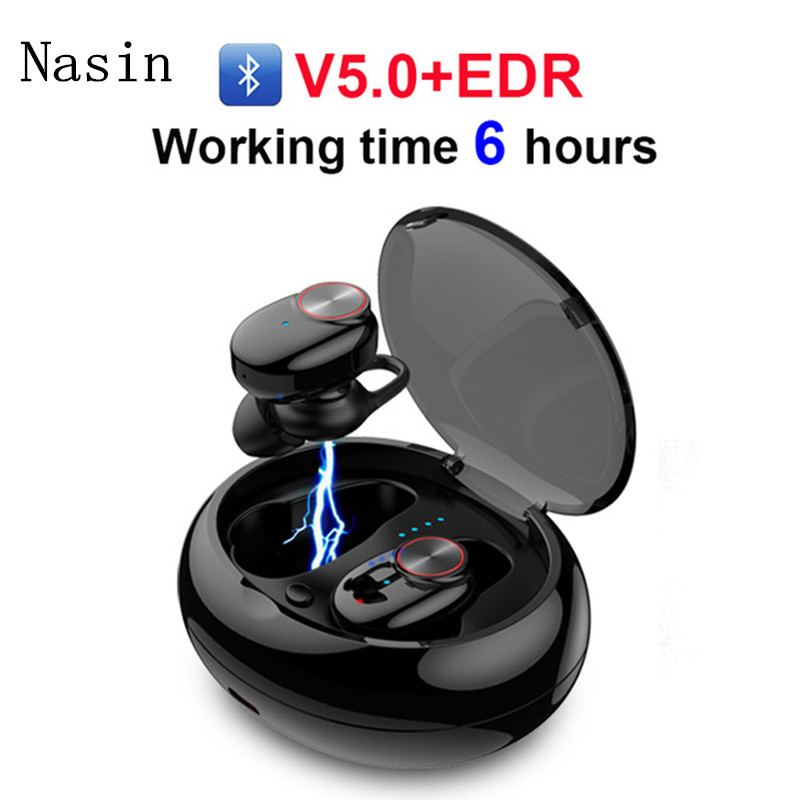 Nasin <font><b>v5</b></font> Wireless Bluetooth 5.0 Earphone Stereo Built-in Microphone Hands-free Calling Bluetooth <font><b>TWS</b></font> Earbuds for iphone Xiaomi image