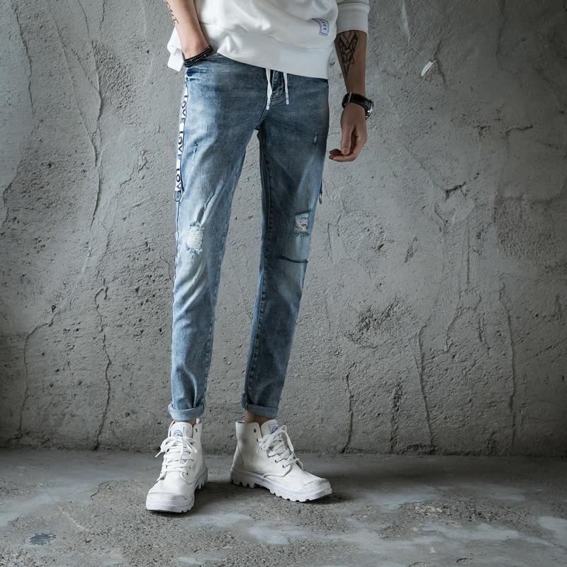 Mens Jeans 2018 New Denim Long Length Pants Hole Male Distressed Trousers Fashion Pencil Pants Destroy Wash Light Blue 8016