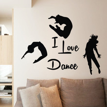 EHome I Love Dance Wall Stickers Home Decor Three Dancers Wall Murals Adhesive Vinyl Wall Decals Bedroom Decoration