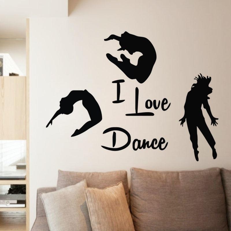 Ես սիրում եմ Dance Wall Stickers Home Decor- ը Երեք պարող Պատի որմնանկարներ Կպչուն վինիլային պատի դեկորացիաներ Ննջասենյակի ձևավորում