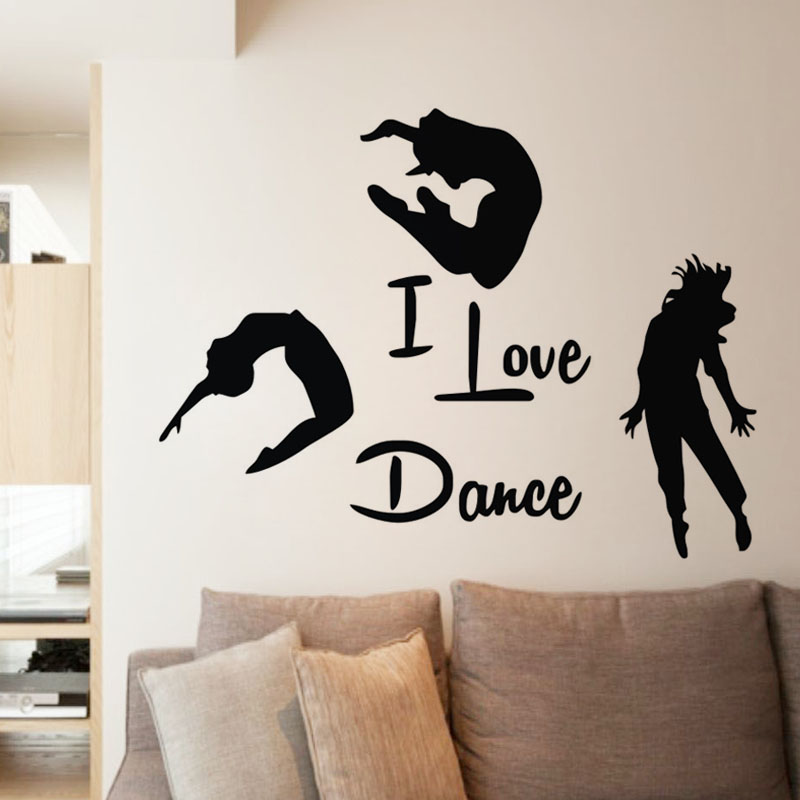I Love Dance Wall Stickers Home Decor Three Dancers Wall Murals Adhesive Vinyl Wall Decals Bedroom Decoration