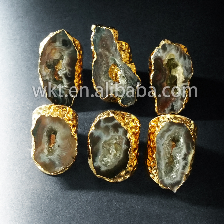 Exclusive Women Fashion slice geode a gate rings Amazing design druzy stone ring drusy stone gold strim ring WT-R112 ...