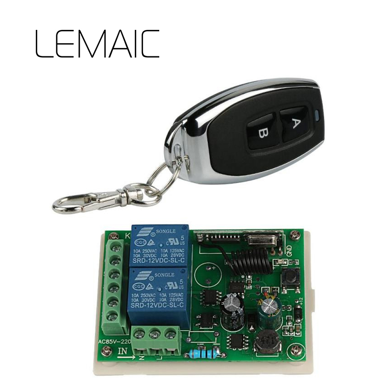 LEMAIC 2CH Relay Receiver Remote Control Switch 433 MHz learning code ASK Smart Home LED Lamp Light RF Wireless Control ...