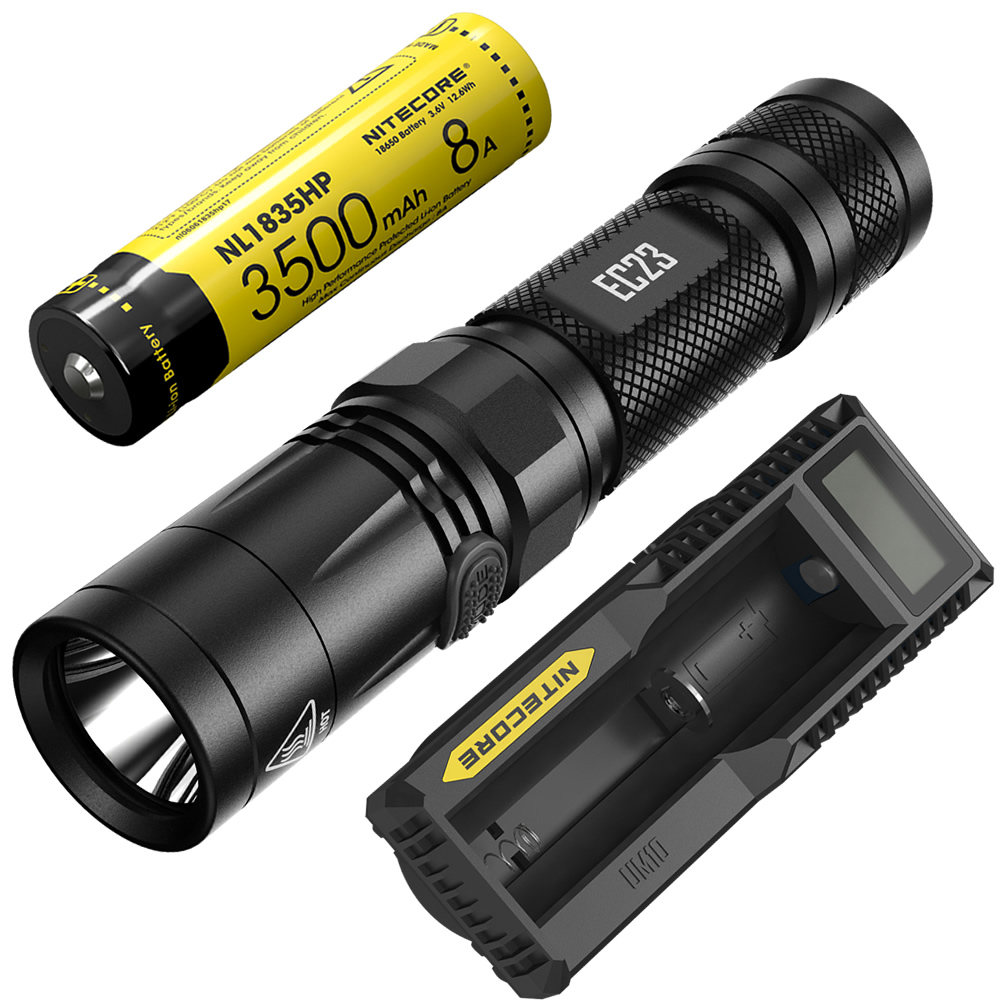 NITECORE EC23 Flashlight+UM10 Charger+ Rechargeable 18650 Battery Waterproof Outdoor Camping Hiking Portable Torch Free Shipping nitecore hc33 1800lumen headlamp um10 charger 18650 rechargeable battery headlight waterproof flashlight outdoor camping travel