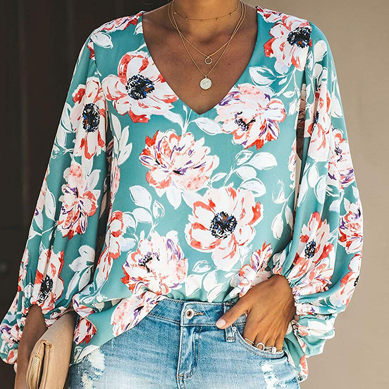 2019 New Autumn Long Sleeve Floral Blouse Shirts Women Casual V neck Puff Sleeve Tops in Blouses amp Shirts from Women 39 s Clothing