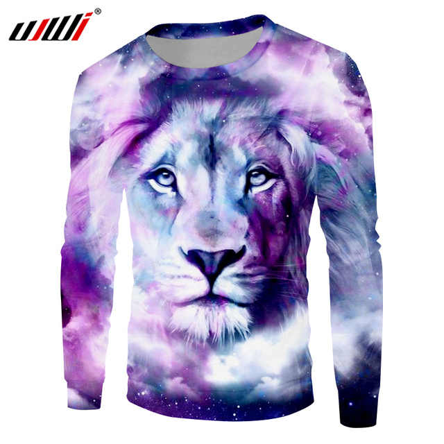 d8d8e376d9df UJWI 2018 Autumn Winter Men Sweatshirts Cool Print Galaxy Space Lion King 3D  Hoodies Man Hip Hop Long Sleeve Crewneck Pullovers
