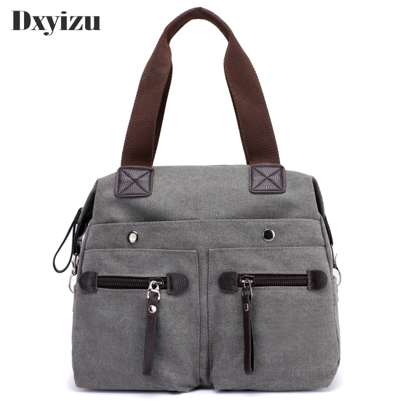 2018 New Canvas Casual Women Shoulder Bags Solid Color Multifunction Tote Office Bag With Solid Pocket Crossbody Shoulder Bags kangaroo pocket drop shoulder color block sweatshirt