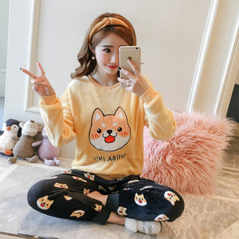 Women Pajamas Set Flannel Full Trousers Lady Two Piece Pajama Set Cartoon Print Home Clothing Pyjamas