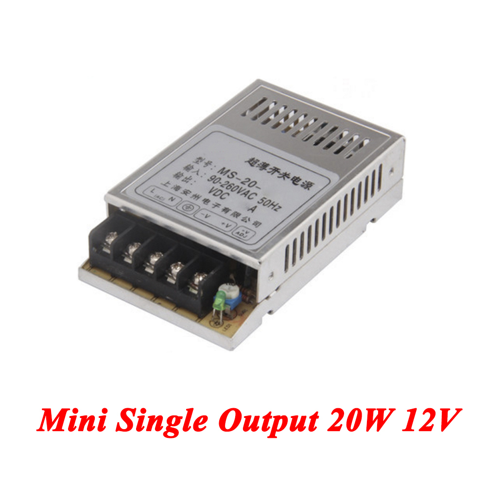MS-20-12 Mini DC switching power supply 20W 12V 1.6A,Single Output for Led Strip,voltage converter AC 110V 220v to DC 12v single output uninterruptible adjustable 24v 150w switching power supply unit 110v 240vac to dc smps for led strip light cnc