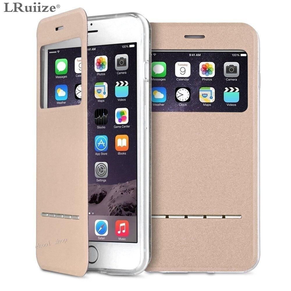 LRuiize For iphone X 10 Smart Front Window View Flip stativ PU - Reservdelar och tillbehör för mobiltelefoner - Foto 2