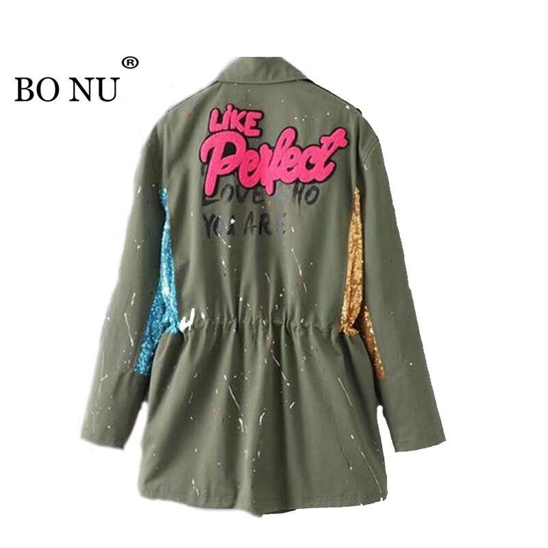 BONU Europen High Quality Letter Print Basics Long Jackets Women Sequins Harajuku Oversize Feminina Jacket Coat Women Dust Coat