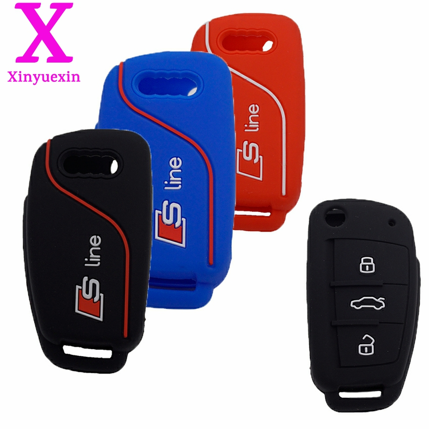 Xinyuexin New For Audi Silicone Car Key Cover FOB Case For Audi A1 A3 Q3 Q7 R8 A6L TT Flip Remote Key Jacket Car styling 3Button 100pcs white cardboard paper blank cards handmade post card diy cards paper crafts scrapbooking free shipping 60mm 026011013