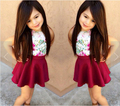 SQ196 Frete grátis 2015 moda meninas saia terno meninas roupas de verão camisa + saia 2 pcs crianças conjunto vestido de meninas vestido varejo