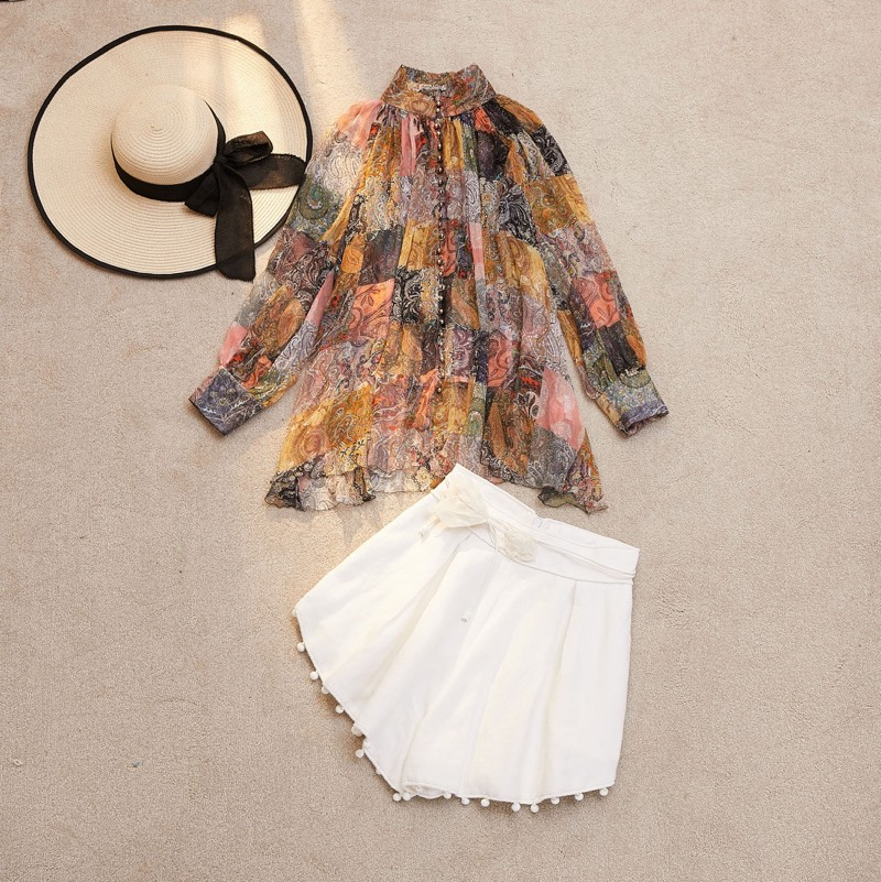 EXCOSMIC Для женщин высокое качество офисные Винтаж блузка, кофта с принтом с вышивкой Элегантные, кружевные, лоскутные рубашки Повседневное