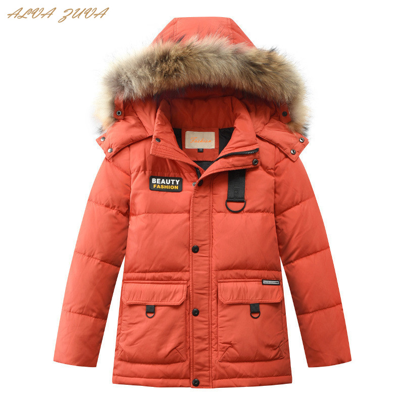 30 Degree Children Down Jackets Natural Fur Teenager Boys Thickening Warm Coats For Kids 6