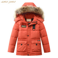 30 Degree Children Down Jackets Natural Fur Teenager Boys Thickening Warm Coats For Kids 6 16 Years Outerwear Cyy321