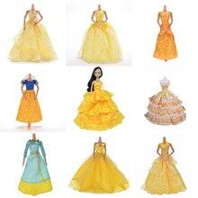цены на Yellow Wedding Dress Princess Evening Party Ball Long Gown Skirt Bridal Veil Costume Clothes For Doll Accessories Xmas Gift Toy  в интернет-магазинах