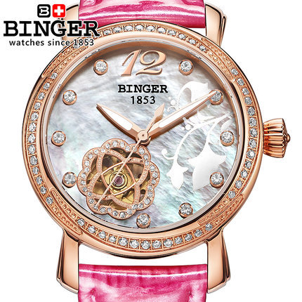 2017 Original New Luxury Brand Binger Geneva Watch Handmade women Automatic Flower watches Fashion Ladies Rose Gold Wristwatches 2016 luxury brand ladies quartz fashion new geneva watches women dress wristwatches rose gold bracelet watch free shipping