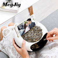 Multifunctional Plastic Double Layer Dry Fruit Containers Snacks Seeds Candy Storage Box Garbage Holder Plate Dish