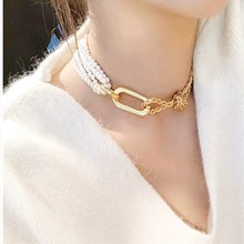 New Fashion Imitation Pearls Choker Necklace Women Gold Color Square Queen Pendant Necklace 2019 Chunky Statement Collar J30 luxury design imitation pearls choker necklace female cross pendant necklaces for women gold color 2019 fashion coin jewelry j30
