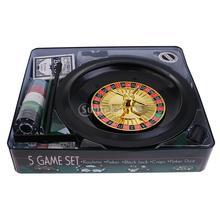 Моделирование казино игровой набор 5 в 1 металлический корпус Подарочные игрушки вечерние сбор 100 шт. фишки для покера рулетка шары фетр коврик кости