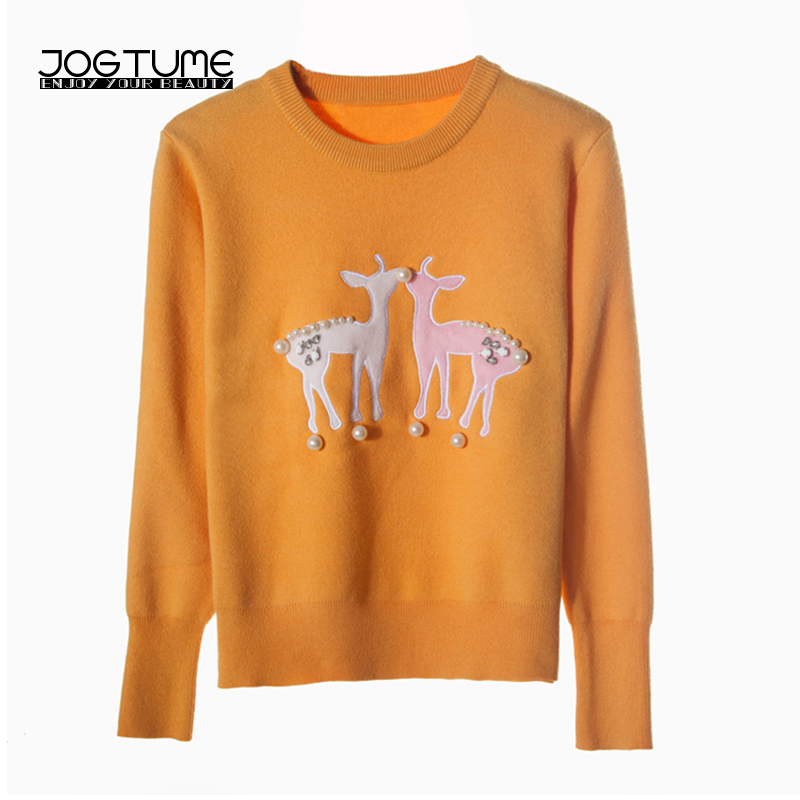 JOGTUME Pearl Sweaters 2017 Autumn Winter Women Christmas Sweater with Deer Beads Long Sleeve Lady Fashion Slim Pullovers Yellow