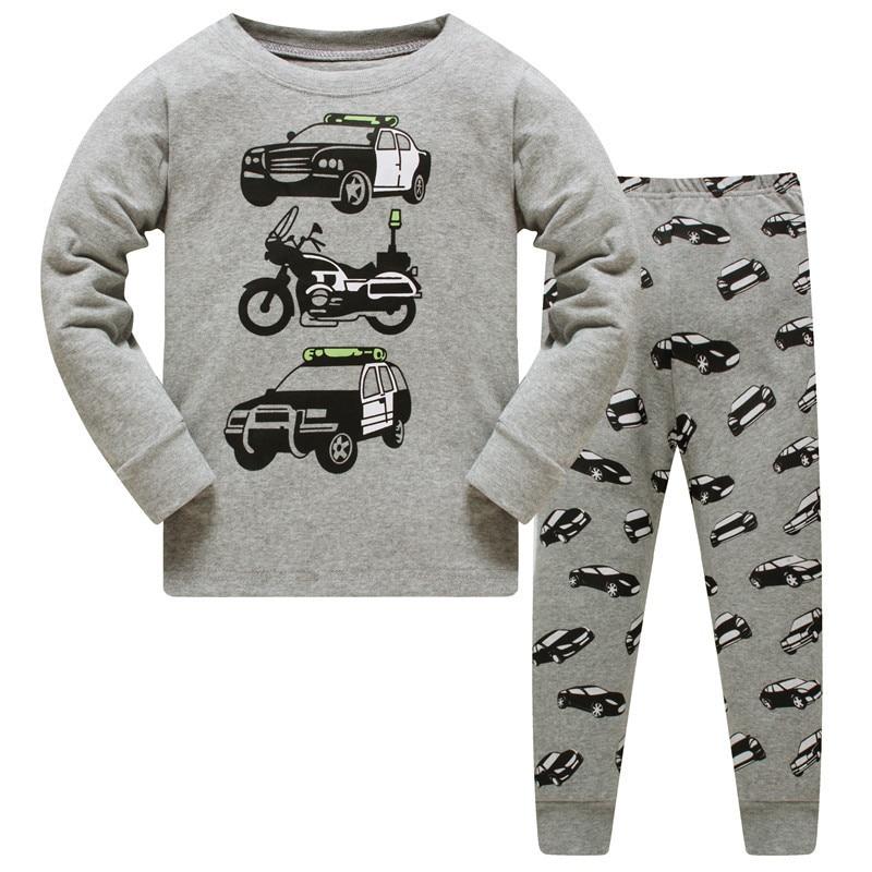 New kids   pajamas     sets   Boys & girls Cartoon Sleepwear Children long sleeve T-shirt+Pants clothes kids cotton nightwear size 3-8T