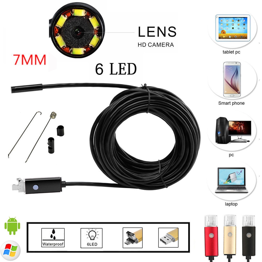 Black/Gold 2 in 1 7mm Lens Android USB Waterproof Endoscope Camera Borescope Inspection Mini Camera 2M/5M Length Cable eyoyo nts200 endoscope inspection camera with 3 5 inch lcd monitor 8 2mm diameter 2 meters tube borescope zoom rotate flip