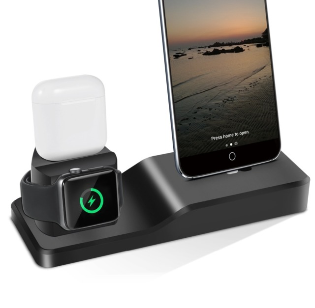promo code 4046b a84a4 US $19.59 30% OFF|3in1 Silicone Holder For Apple Watch Dock For iPhone X XS  XR MAX 6 6S 7 8 Plus Airpods Dock Charger Stand Station Mounts Base-in ...
