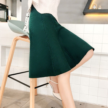 2019 Autumn Winter Knitted Skirt Women Midi High Waist A Line Knit Skirts One-pieces Seamles Pleated Elastic Thick Faldas 2