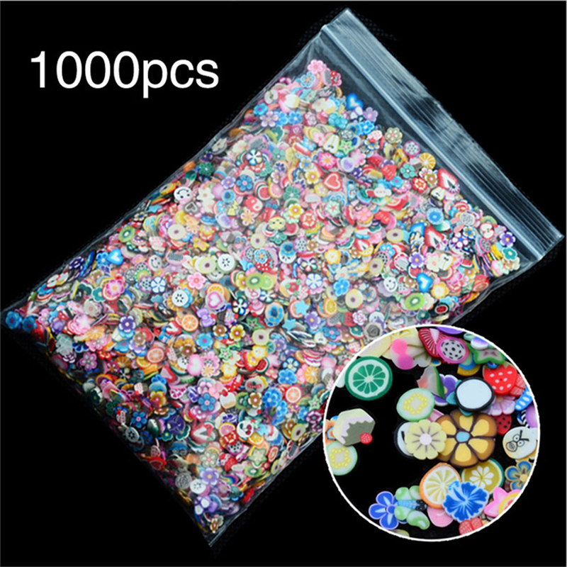 1000pcs/pack DIY 3mm 3D Fruit Flowers Feather Design Tiny Slices Polymer Clay DIY Girls Toys <font><b>Stickers</b></font> Girls Gifts image