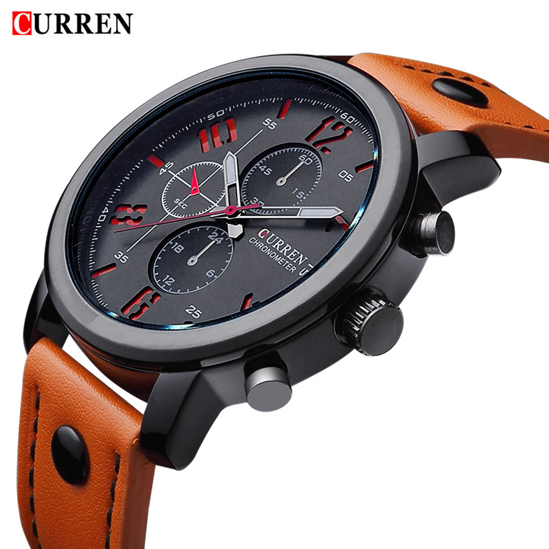 Military CURREN Brand Men Sports Watches Wristwatches meskie Quartz-watch Climbing Wrist Watch Leather Strap Clock Male Watches
