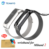 Teamyo Miband 2 Strap Belt Magnetic Stainless Steel Metal Strap Smart Accessories For Recambio Pulsera Xiaomi